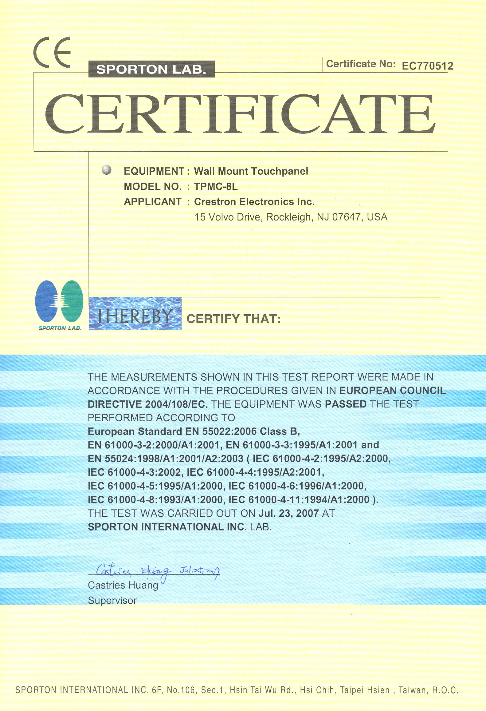 CE Certificates for Crestron Products
